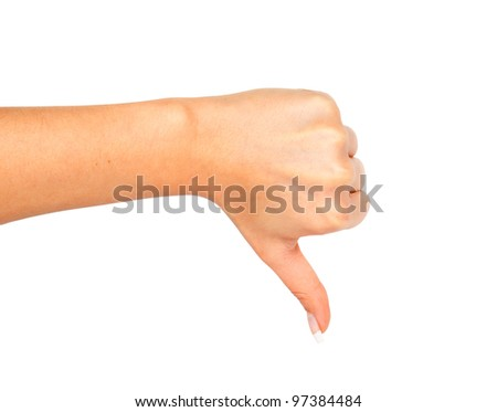 Woman hand showing fail gesture with thumb down - stock photo