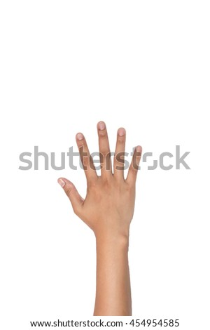 Woman hand showing five count. - stock photo
