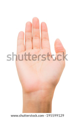 Woman hand showing five count  isolated on white background