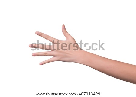 Woman hand showing five count isolated on white background - stock photo
