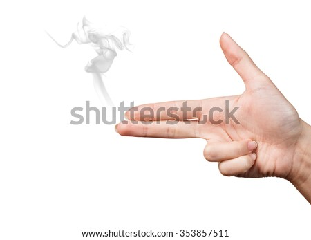 Woman hand showing gun gesture with smoke isolated on  white - stock photo