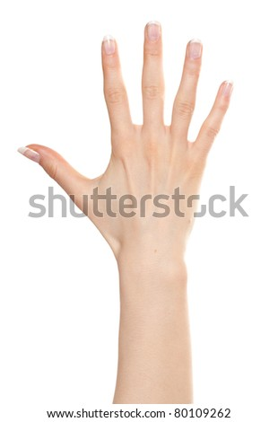Woman hand showing number five - stock photo