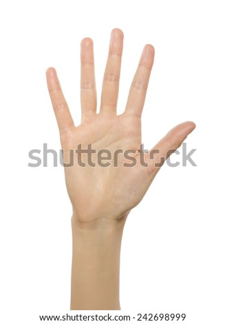 Woman hand showing number five. Isolated over white.