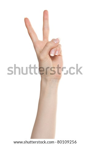 Woman hand showing number two or victory gesture