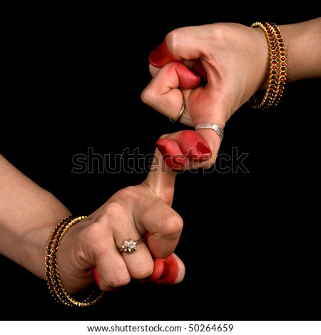 Woman hand showing Pasha hasta of indian classic dance Bharata Natyam