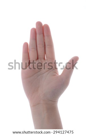 Woman hand showing the five fingers - stock photo