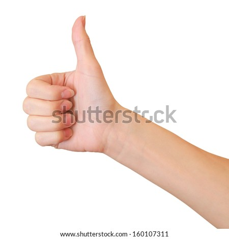 Woman hand showing thumb up sign isolated on white background - stock photo