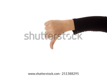 Woman hand showing thumbs down sign against white background - stock photo