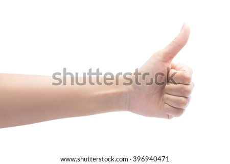 woman hand showing thumbs up sign Isolated on white with clipping path included - stock photo