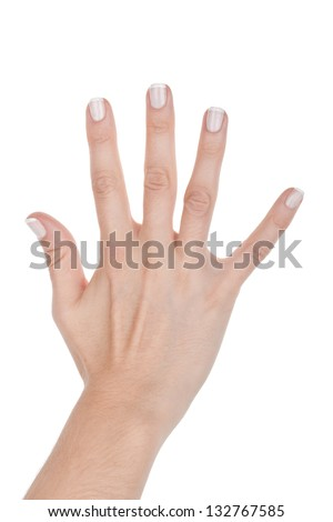 Woman hand shows five fingers, closeup on white background
