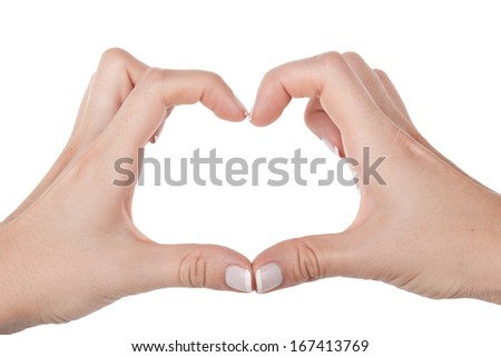 Woman hand shows heart, closeup on white background