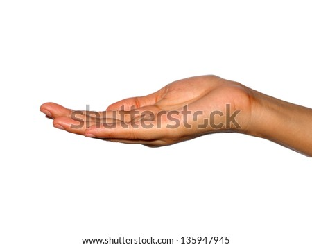 Woman hand sign isolated on white background - stock photo