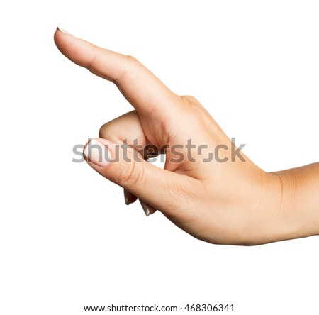 Woman hand sign with french manicure isolated on a white background