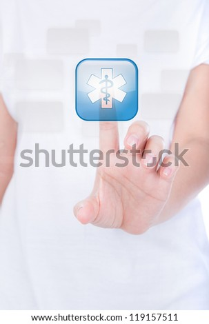 Woman hand  simulating pressing a medical  glossy button over body isolated on background.