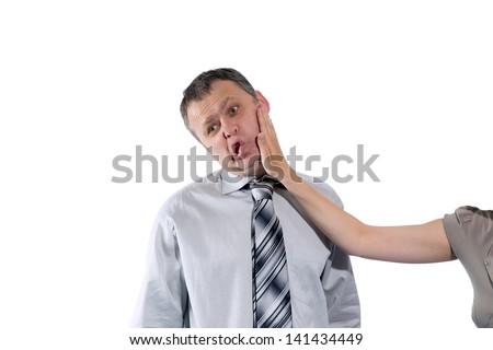 Man Slaps Another Man Woman Hand Slapping Man's Face