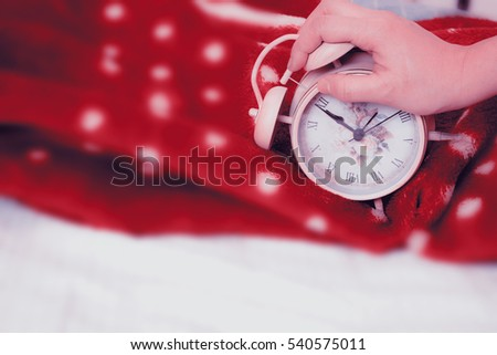 woman hand stopping alarm sounds vintage stock photo royalty free