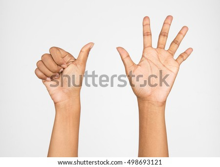 "woman hand, the ""6"" on a white background."