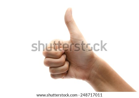 Woman hand thumps up on white background