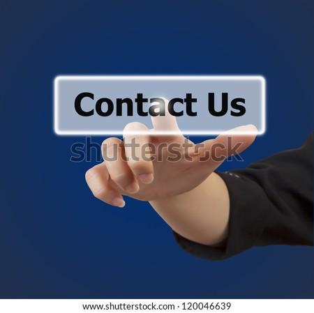 woman hand touching button contact us keyword, on blue background