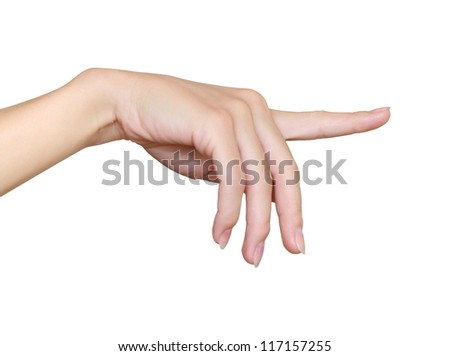 Woman hand touching, indicating, clicking virtual screen isolated on white background