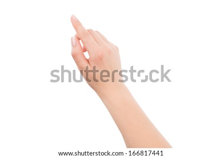 Woman hand touching or pointing to something, isolated on white background - stock photo
