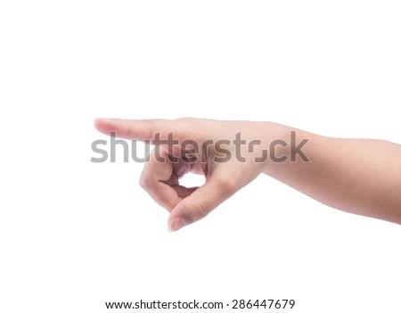 Woman hand touching virtual screen. Isolated on white background with clipping path - stock photo