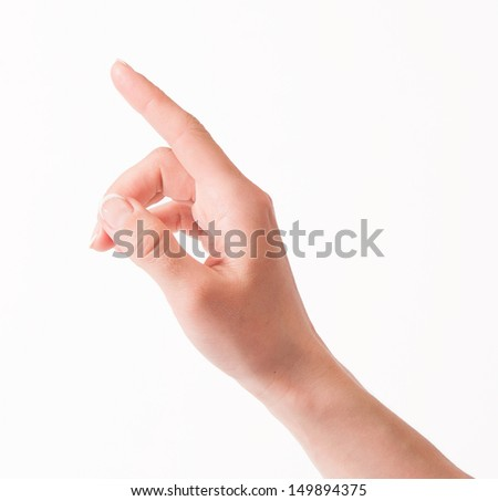 Woman hand touching virtual screen. Isolated over white.
