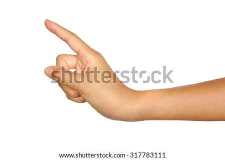 Woman hand touching virtual screen or poiting isolated on white background - stock photo
