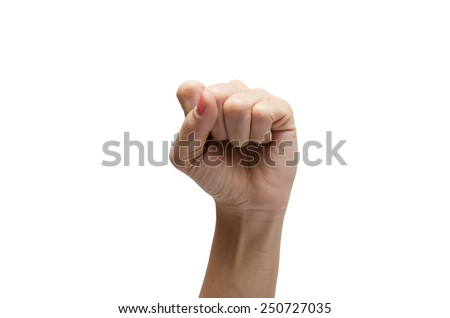 Woman hand up high s american sign language ASL - stock photo
