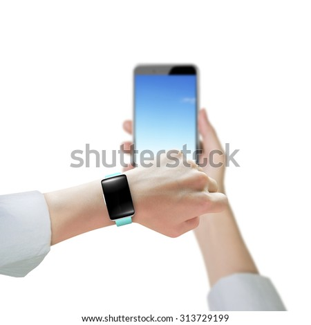 Woman hand wearing smart watch and holding smart phone, isolated on white background. - stock photo