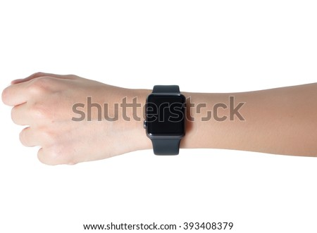 Woman hand wearing smartwatch isolated on white background