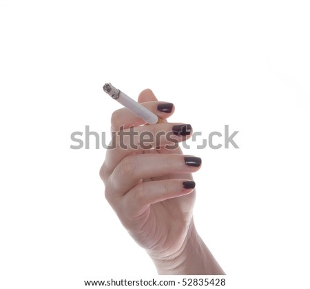 Woman hand with a cigarette isolated on white background - stock photo