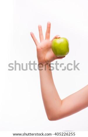 woman hand with apple. Ok sigh - stock photo