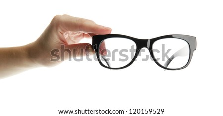 woman hand with black glasses, isolated on white - stock photo