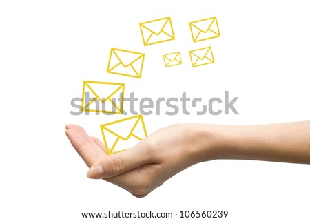 woman hand with emails isolated on white background - stock photo