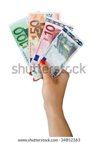 woman hand with euro bills - stock photo