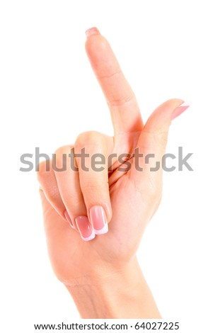Woman hand with finger up isolated - stock photo