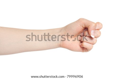 Woman hand with fingers folded into a fist