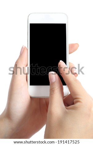 Woman hand with fingers on multi touch screen using a blank application isolated on a white background - stock photo