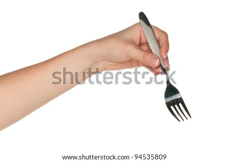 Woman hand with fork isolated on white background - stock photo