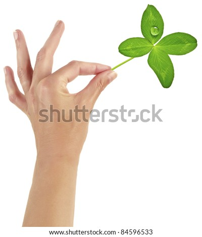 woman hand with four leaf clover