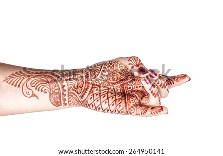 Woman hand with henna doing Apaan mudra isolated on white background with clipping path  - stock photo