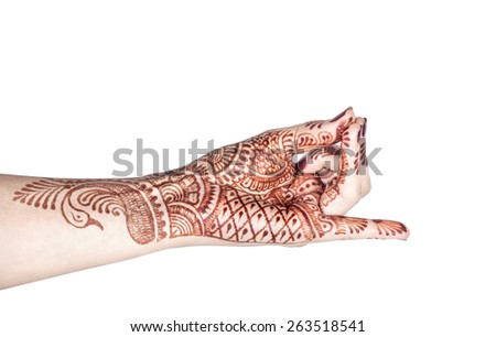 Woman hand with henna doing Apan Vayu mudra isolated on white background with clipping path  - stock photo