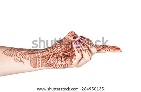 Woman hand with henna doing Vajra mudra, gesture of the fiery thunderbolt isolated on white background with clipping path  - stock photo