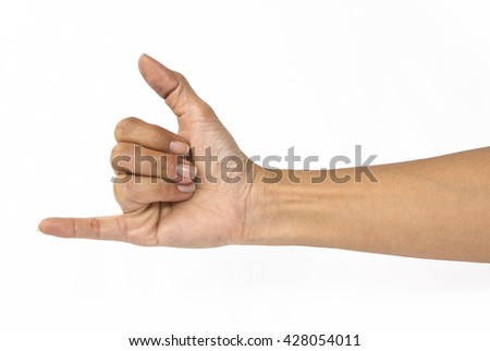Woman hand with I Love You sign isolated on white background - stock photo