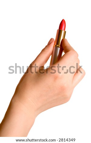 Woman hand with lipstick. On the white.