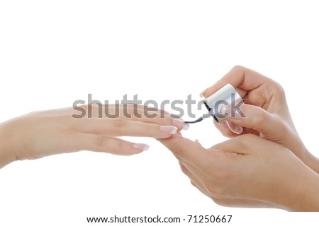 Woman hand with manicure. Isolated on white background