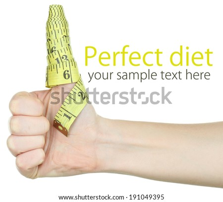Woman hand with measuring tape isolated on white