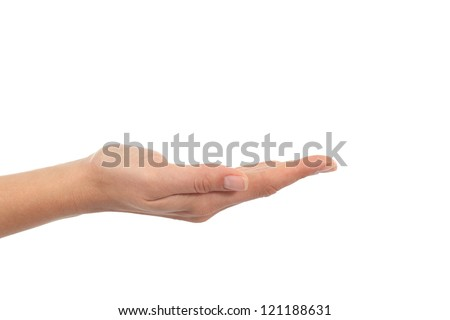 Woman hand with palm up in a white isolated background - stock photo