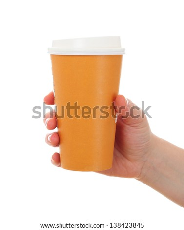 woman hand  with paper coffee cup, take away - stock photo